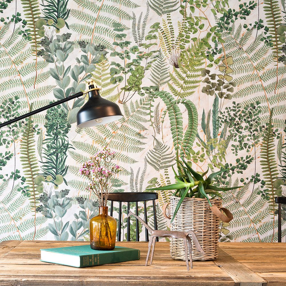 Green Sanctuary Set Of 3 Panels By Mind The Gap White Green Mural Wallpaper Direct Botanical Interior Design Botanical Interior Print Wallpaper Green and white wallpaper for walls
