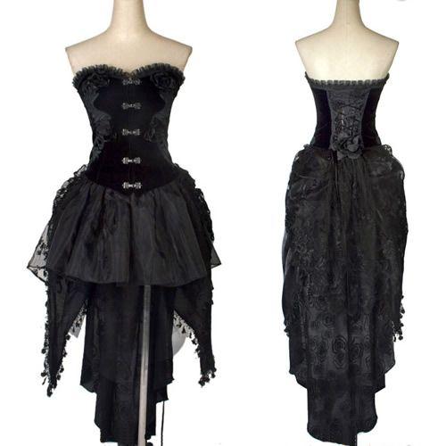 Tea Length Corset Gothic Black Dresses