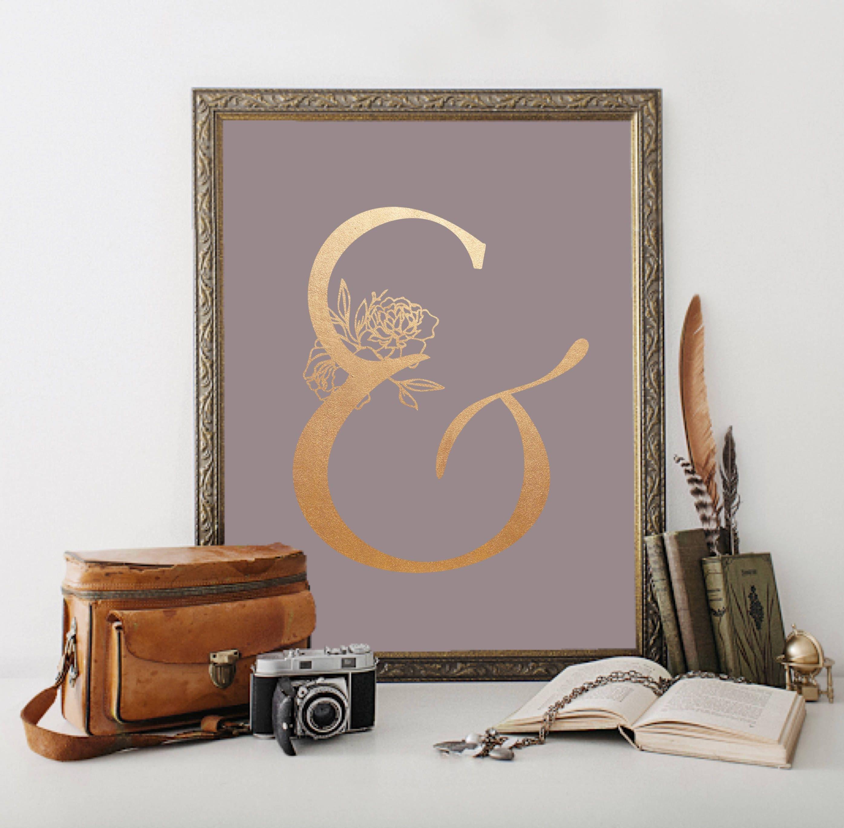 Rose gold ampersand digital print dusky mauve home decor art office