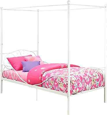 White Twin Size Canopy Metal Bed Frame Heart Scroll Design Modern