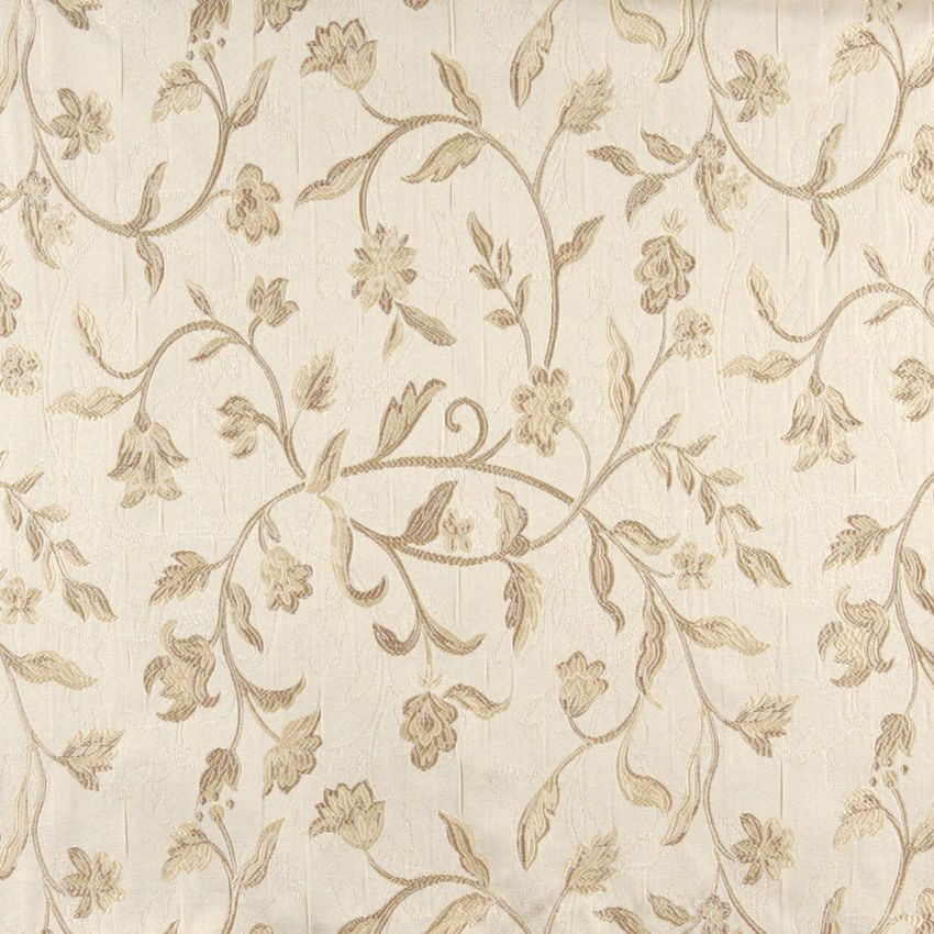 Ecru Beige and White Vintage Large Floral Vine Brocade Upholstery Fabric