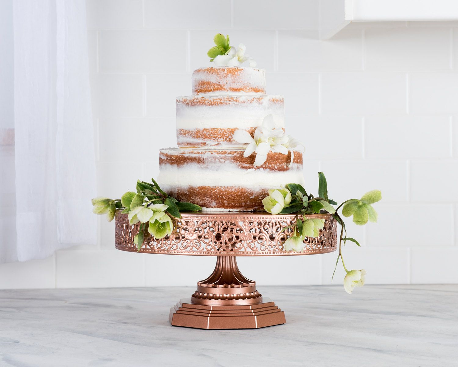 Rose Gold Cake Stand 12 Inch Round Cake Stand, Metal Cake Stand ...