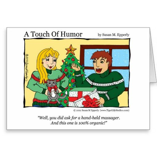 """A Touch of Humor"" Hand Held Massager / Cat Comic http://www.zazzle.com/TigerLilyStudios?rf=238891780775066757"