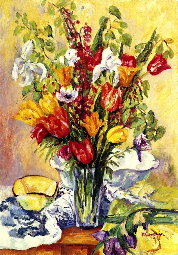 Iris and Tulips,1934,by Henri Manguin