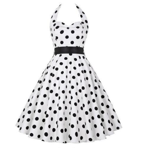 Ladies 1950/'s Retro Vintage Rockabilly Big Polka Dot Swing Halter Neck Dress