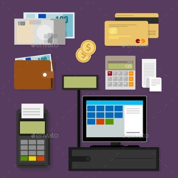 Payment Point Of Sales Cash Credit Payment Digital Illustration Styles