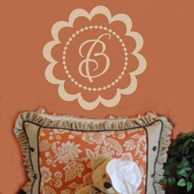 FLORAL MONOGRAM Vinyl Wall Decal Personalized Monogram Wall - Monogram vinyl wall decals