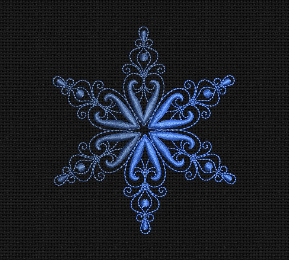 Machine Embroidery Design Snowflake pattern 4x4 in INSTANT