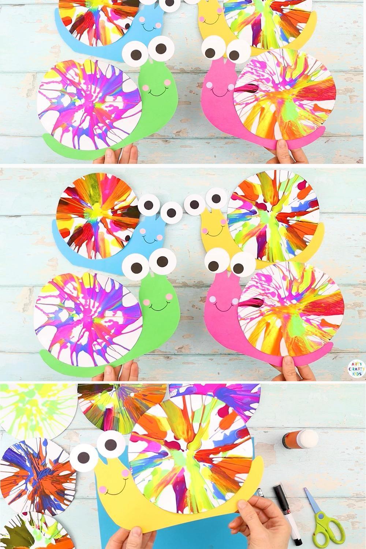 Spin Art Snails for Kids