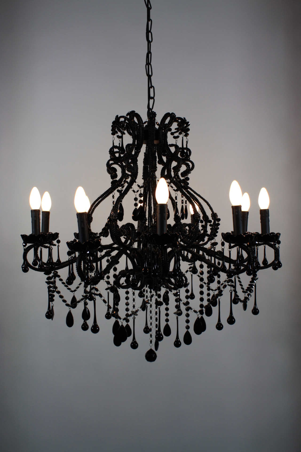 Black chandelier diy but all white to hang above the altar i can black chandelier diy but all white to hang above the altar i can totally make this myself store decor pinterest black chandelier arubaitofo Image collections
