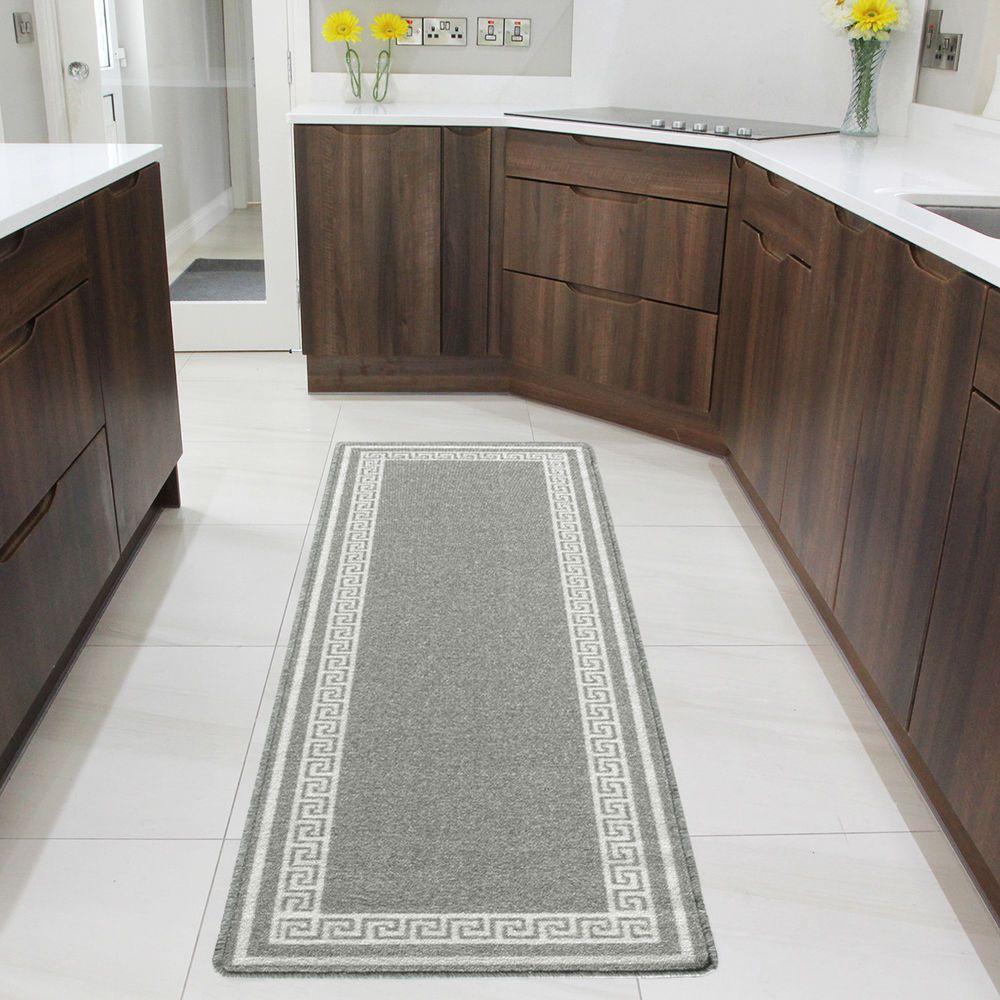 New Grey Neutral Long Bright Non Slip Kitchen Larder Runner Mat Washable Rubber Rugs Where To Buy Carpet Kitchen Carpet Runner