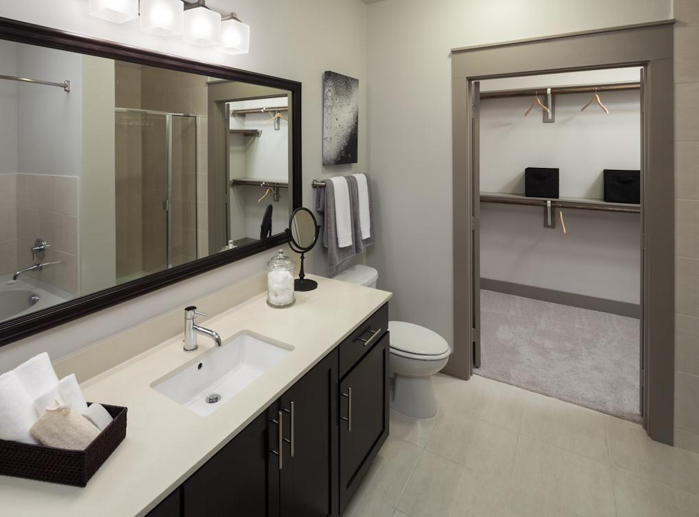 Model Bathroom At AMLI On Maple, A Luxury Apartment Community In Dallas.