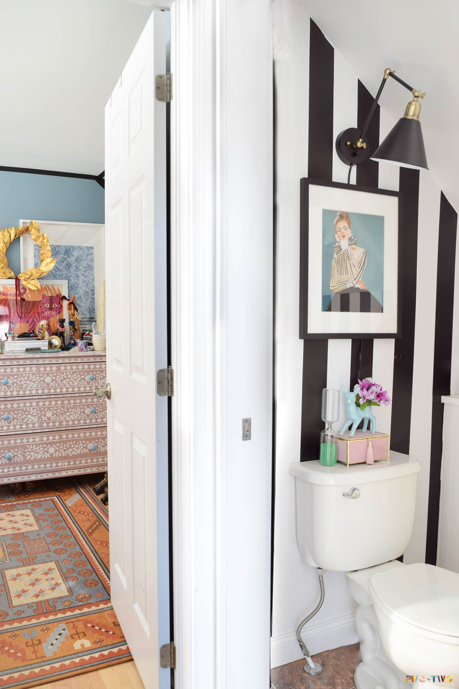 Kate Spade Inspired Powder Room The Reveal Rental