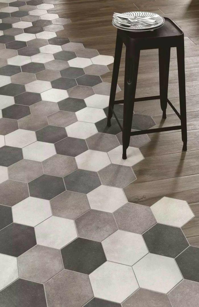 Melange Parquet Carrelage Flooring Hexagon Tiles Kitchen Flooring
