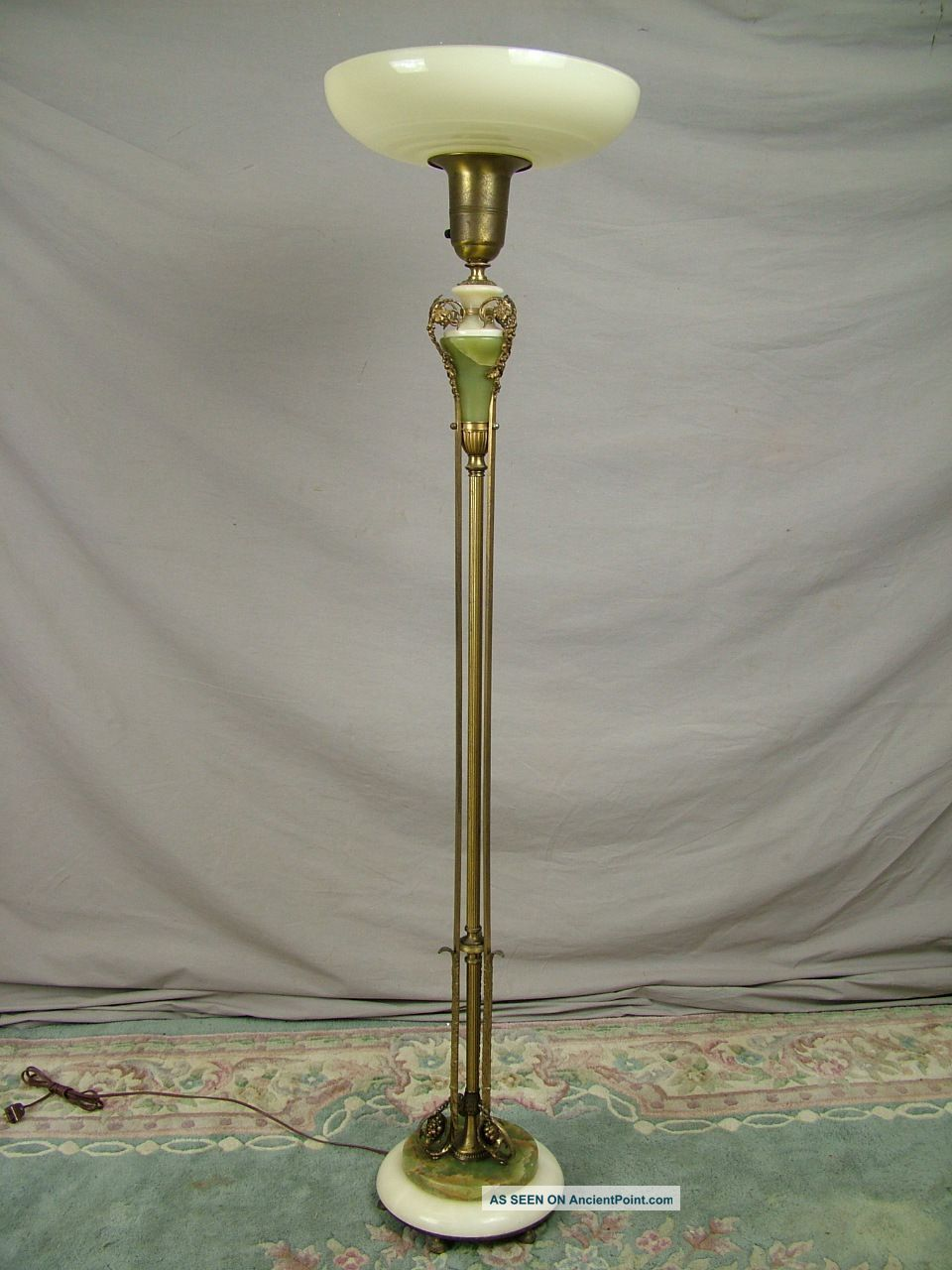 Antique French Torchiere Floor Lamp Marble Onyx Brass