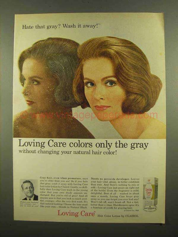 1965 Clairol Loving Care Hair Color Lotion Ad Wash It Lotion