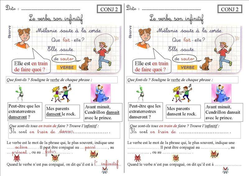 CONJ 2 CE1 : le verbe, son infinitif - La classe des CE de Villebois   Ce1, Verbe infinitif et ...