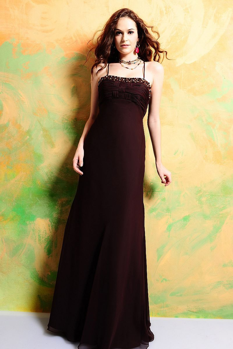 A line straight across neckline spaghetti straps with ruffles and amazing a line empire waist chiffon dress for bridesmaid ombrellifo Choice Image