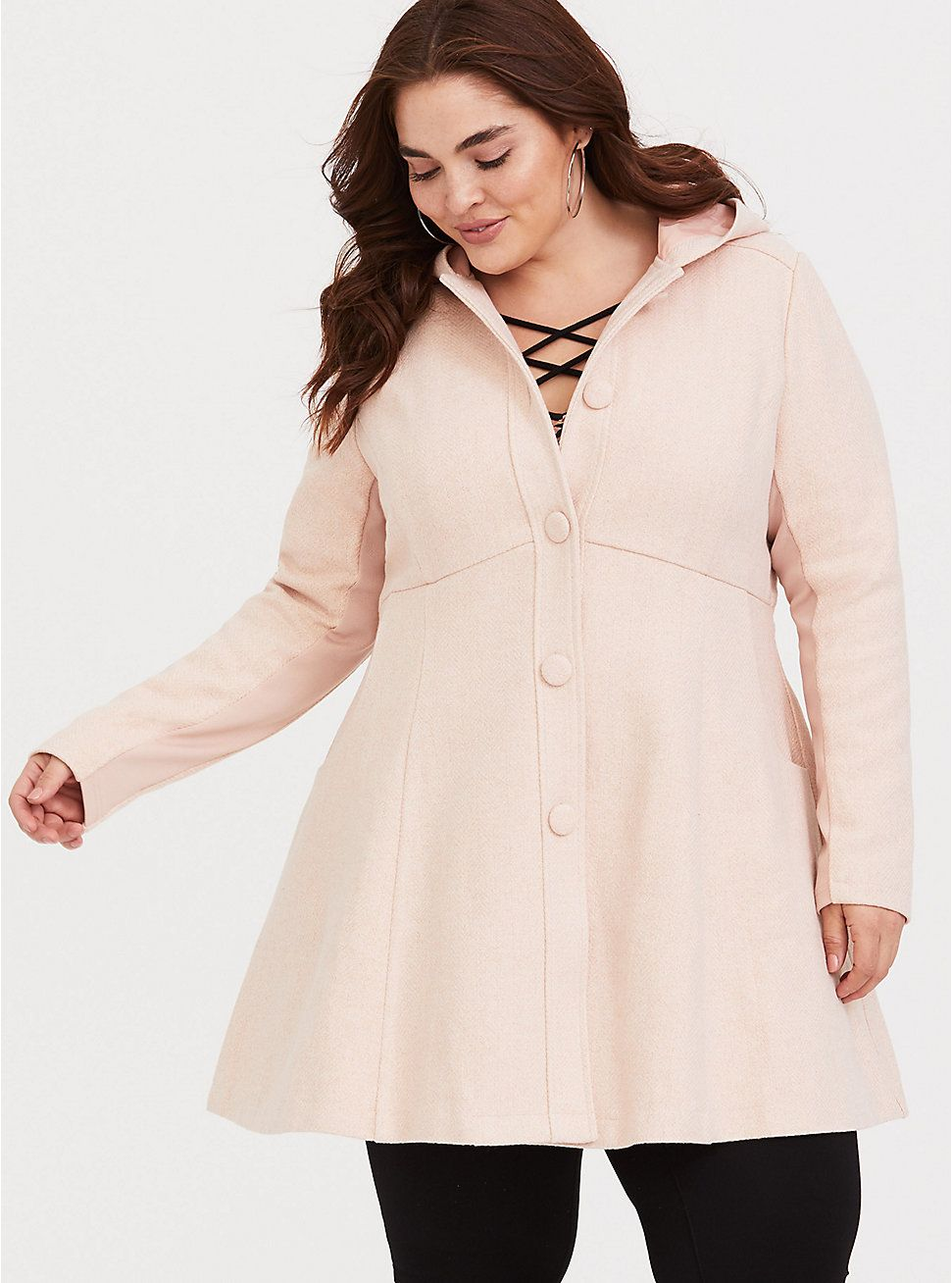 f2781641eb9 Pink Hooded Fit and Flare Coat