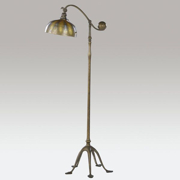 Tiffany Studios Favrile Glass Shade Gilt Bronze Counter Balance Floor Lamp 53in X 10 25in 10 200 Lamp Tiffany Lamps Glass Shades