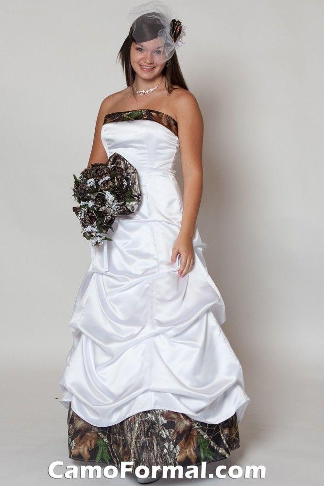 Camo bridesmaid dresses veil with camo rose for Mossy oak camo wedding dress