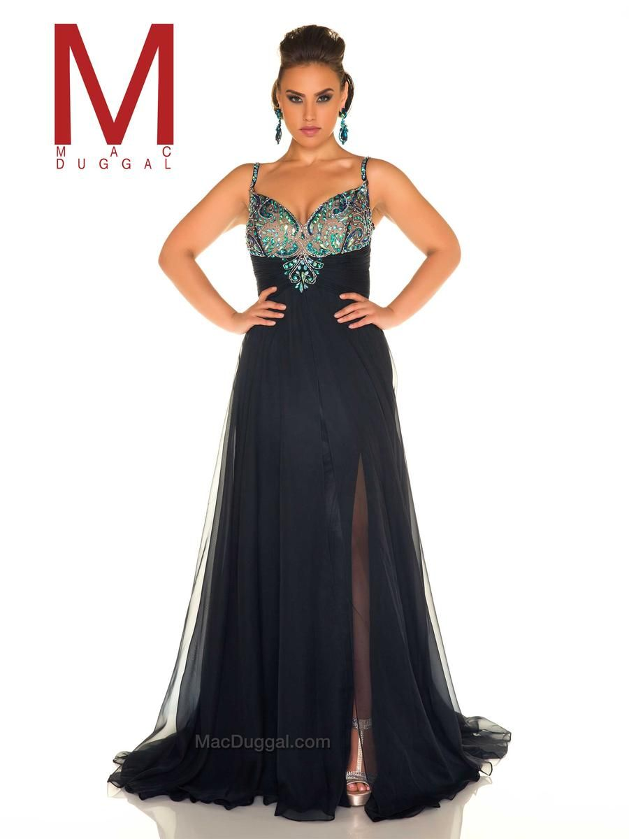 Mac duggal fabulouss f is a plus size prom gown with mutlicolor