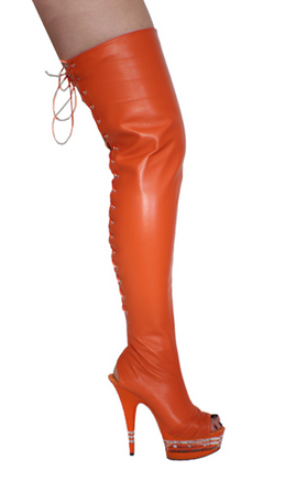 """Red 6 1//2/"""" lace up open toe stripper thigh boots"""