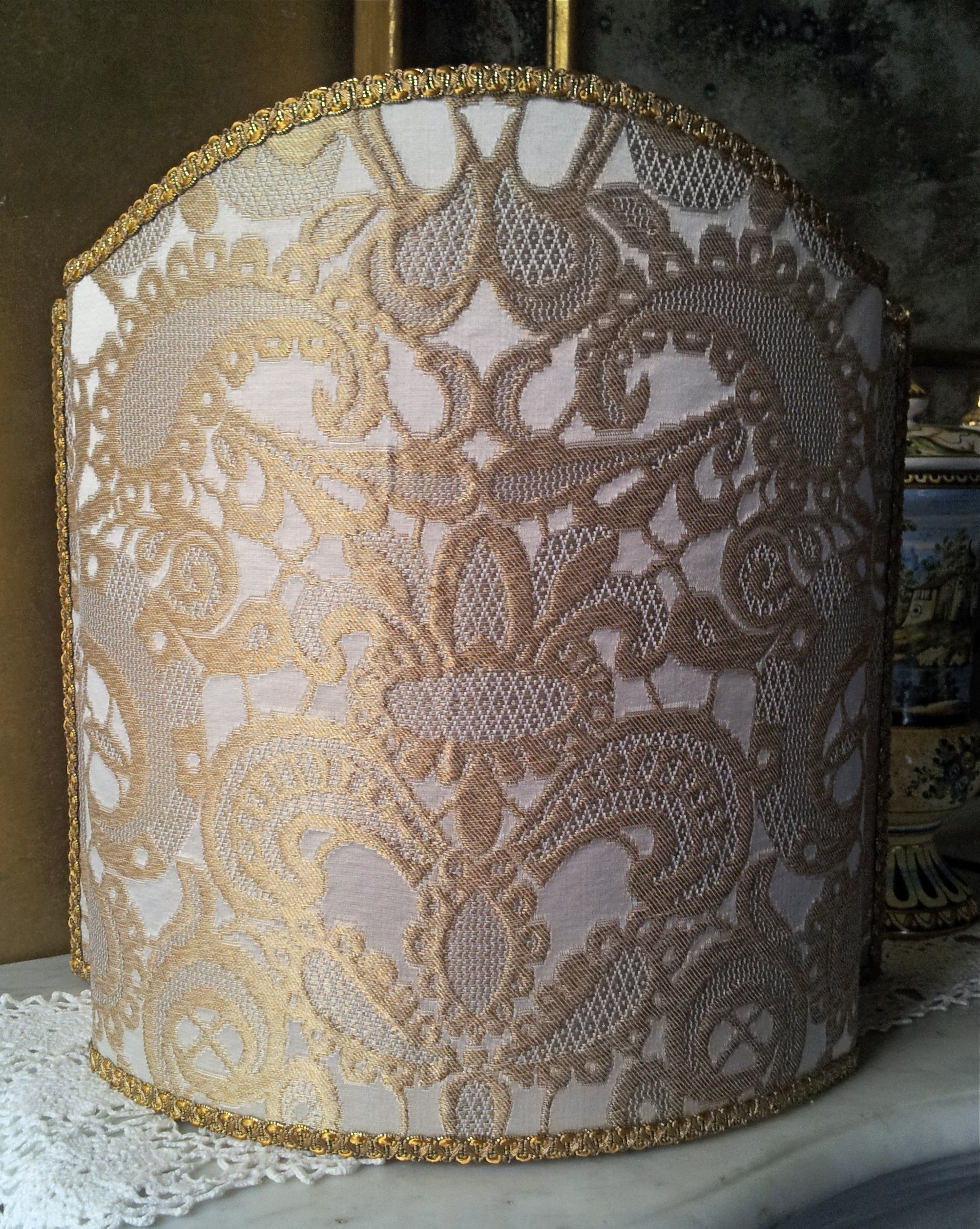 Venetian lampshade in rubelli silk lampas fabric ivory and gold venetian lampshade in rubelli silk lampas fabric ivory and gold gianduja pattern half lamp shade mozeypictures Image collections
