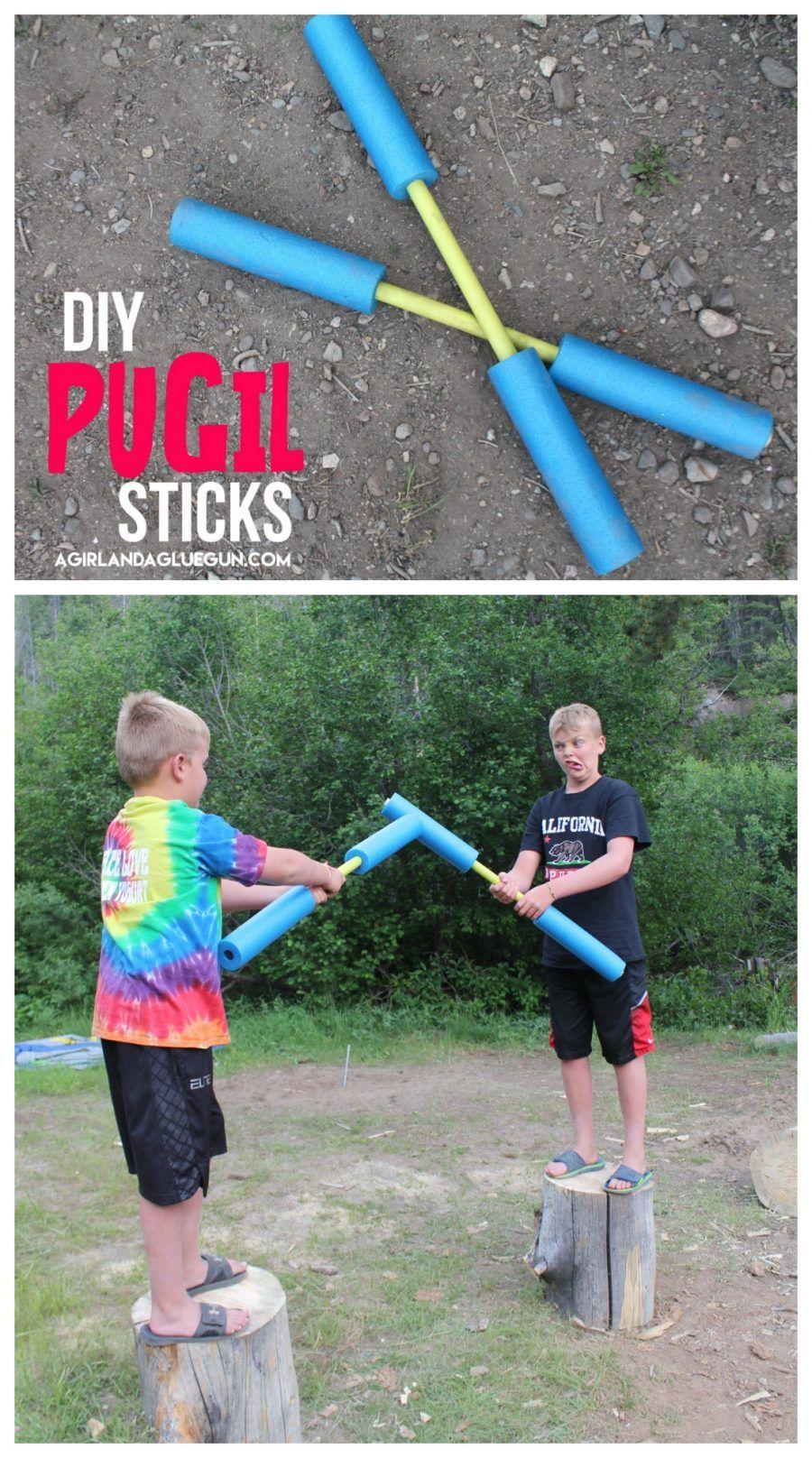 Pugil sticks DIY and camping game! | Camping games kids ...