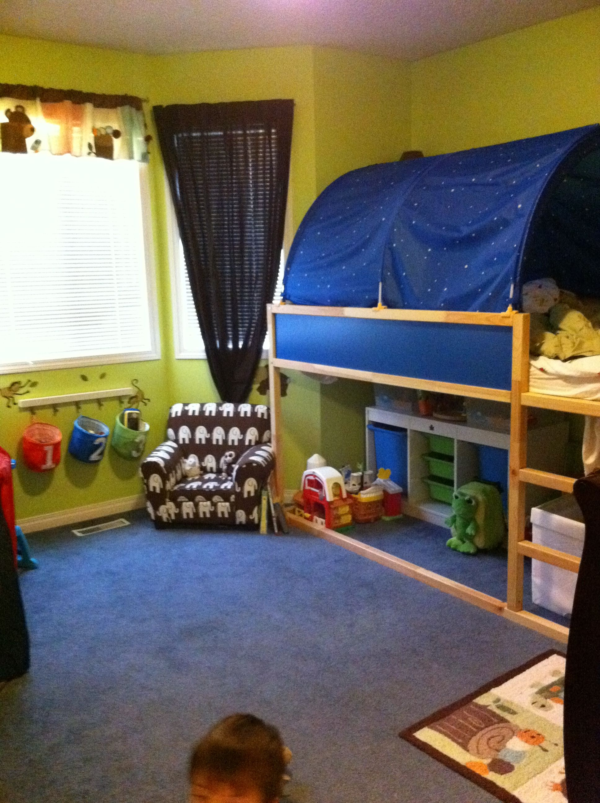 View of Trey's bed in the nursery he shares with his sister Presley.