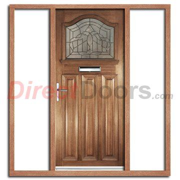 Estate Crown Exterior Hardwood Door With Lead Caming Double Glazing And  Frame Set With Two Unglazed Side Screens