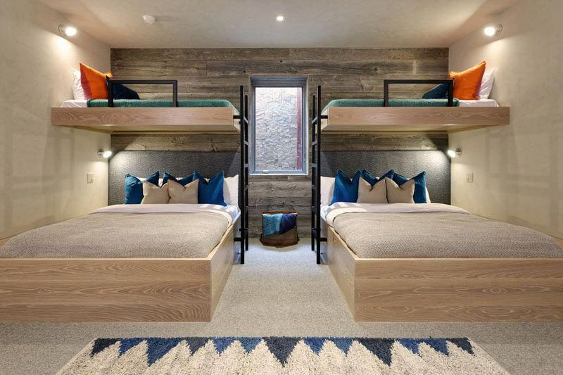 Interior Design Ideas For Sleeping Six People In A Room These Bunk Beds Are Positioned Around A Wi Modern Bunk Beds Bunk Beds Built In Bunk Beds With Stairs
