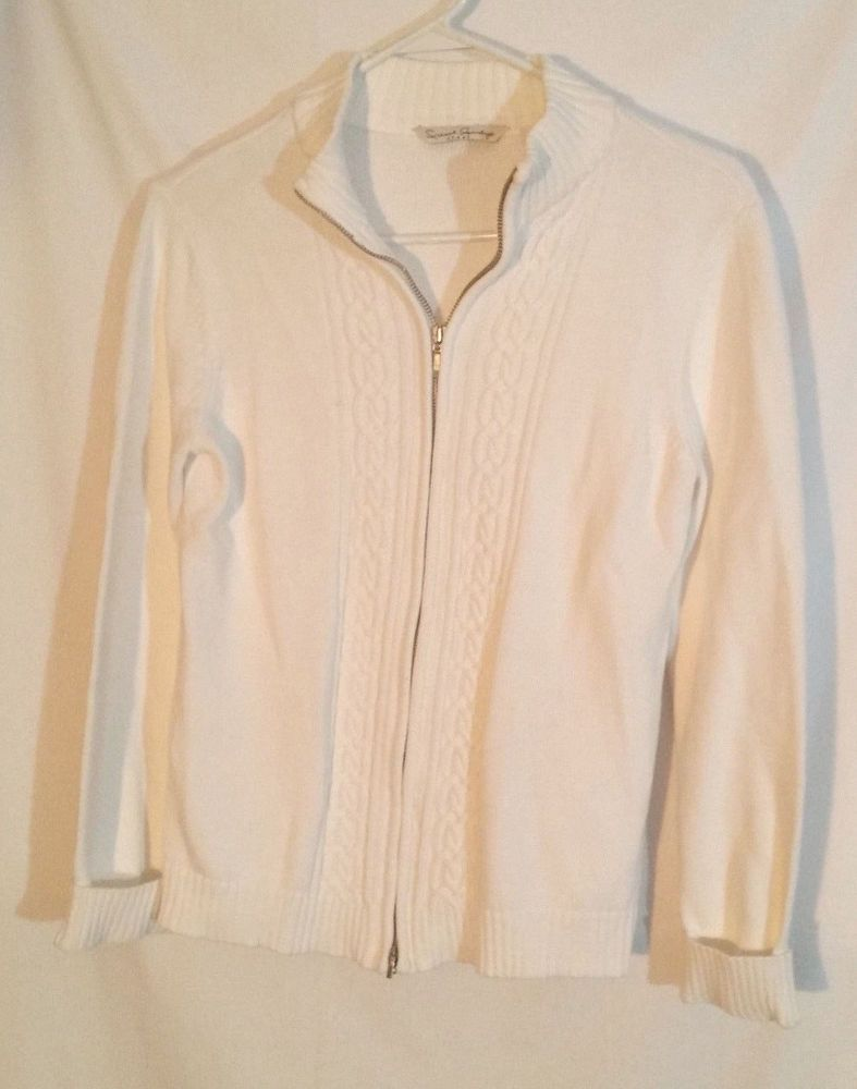 French Laundry Womens White Cardigan Size M Zip Front Long Sleeve ...