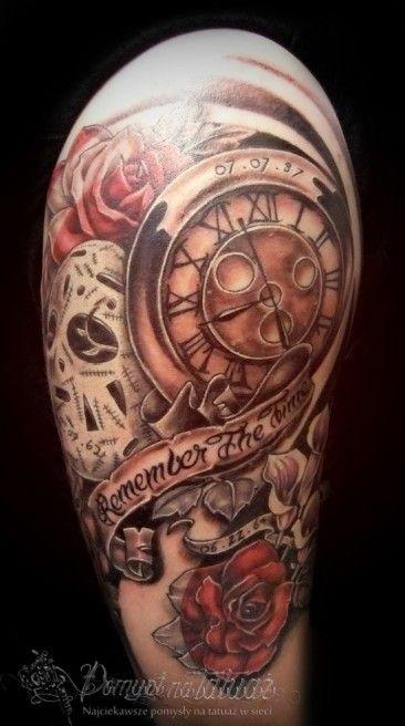 Tatuaż Zegar Na Ramię Z Różami Tatuaże Wzory Tatuaży