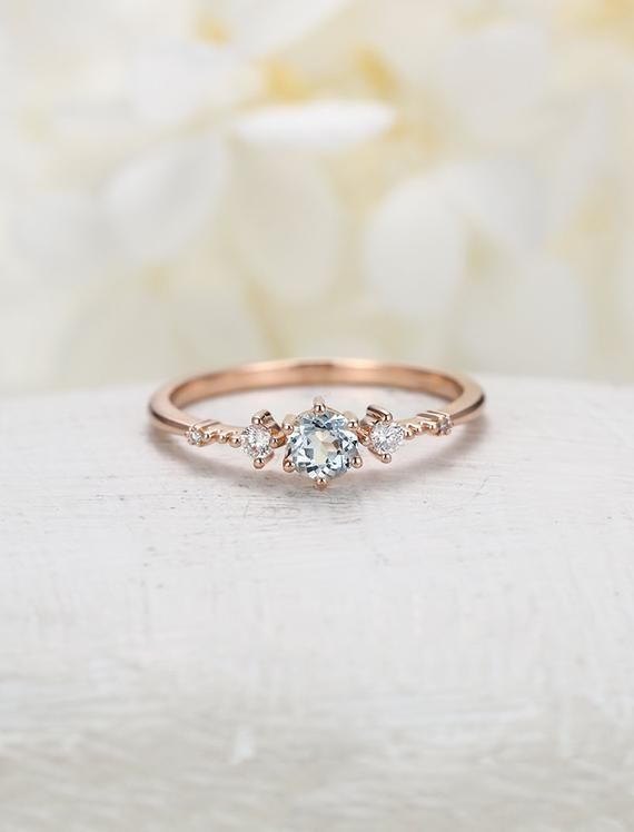 Aquamarine engagement ring rose gold engagement ring vintage Diamond Cluster ring wedding Bridal Set Three stone Anniversary gift for women #aquamarineengagementring