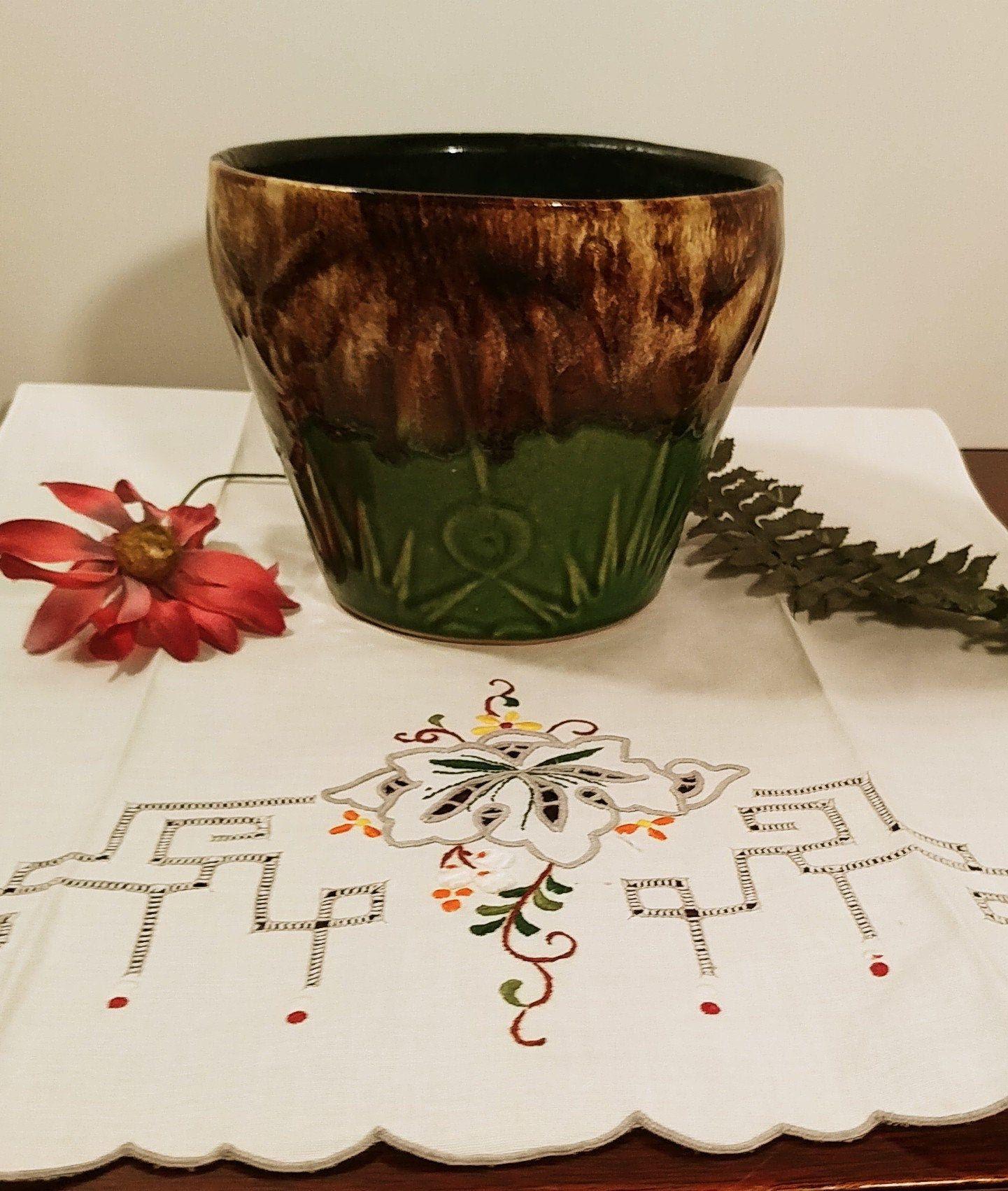 Vintage Ceramic Pot Bowl MOD retro succulent houseplant planter glazed polka dot orange yellow white mid century pottery