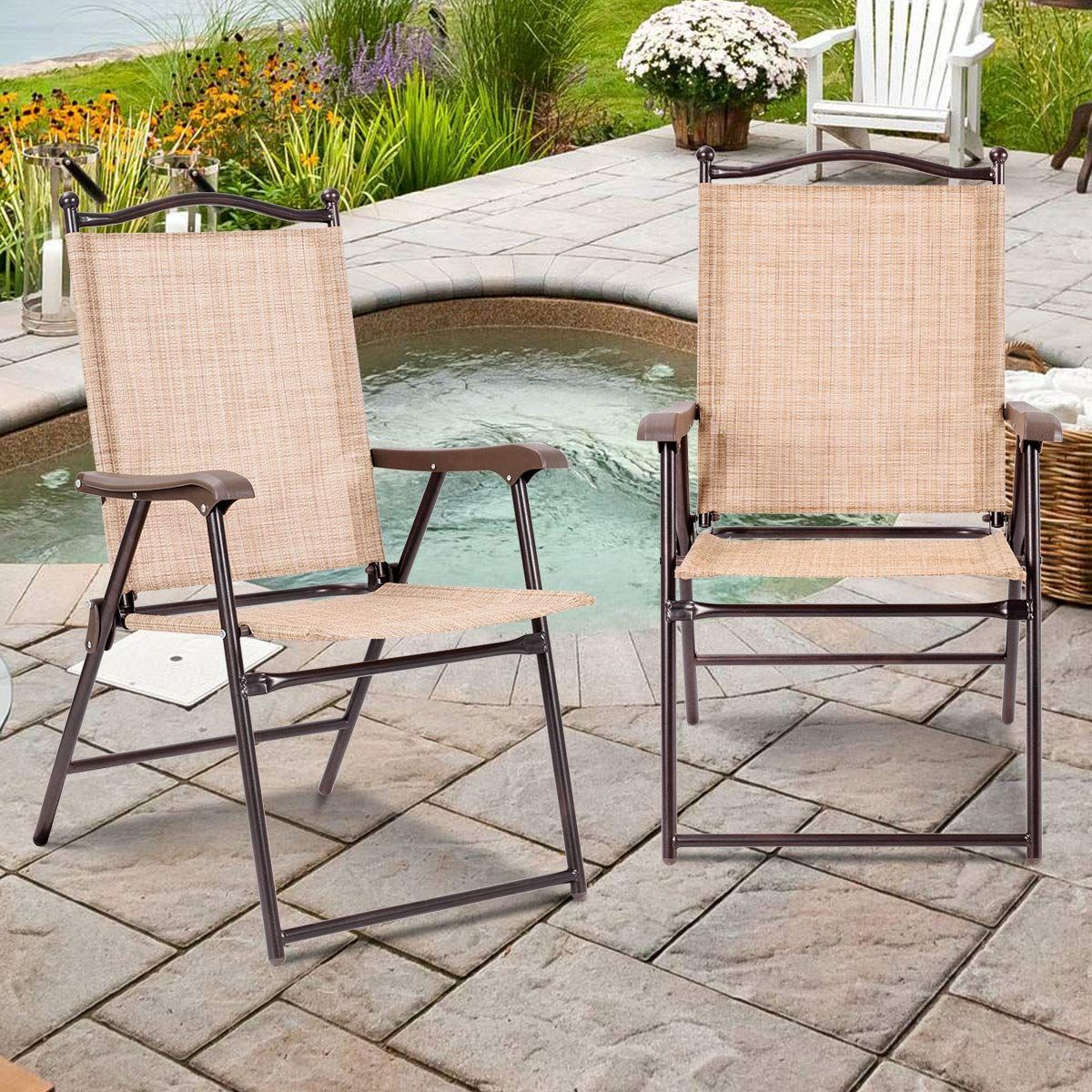 Giantex Set of 4 Folding Sling Back Chairs Indoor Outdoor