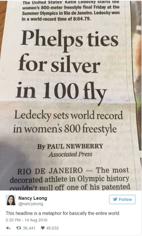 Press headlines - Phelps vs. Ledecky