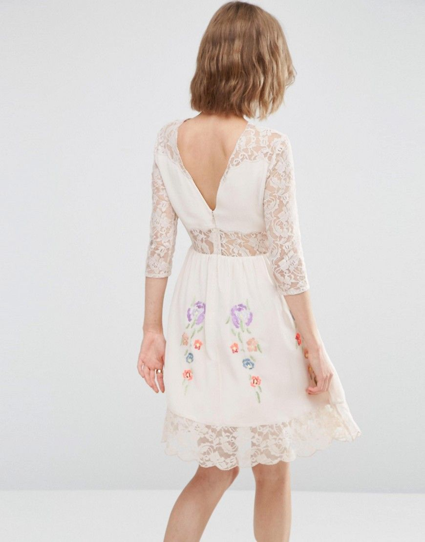 Asos premium skater dress with lace sleeves and neon embroidery
