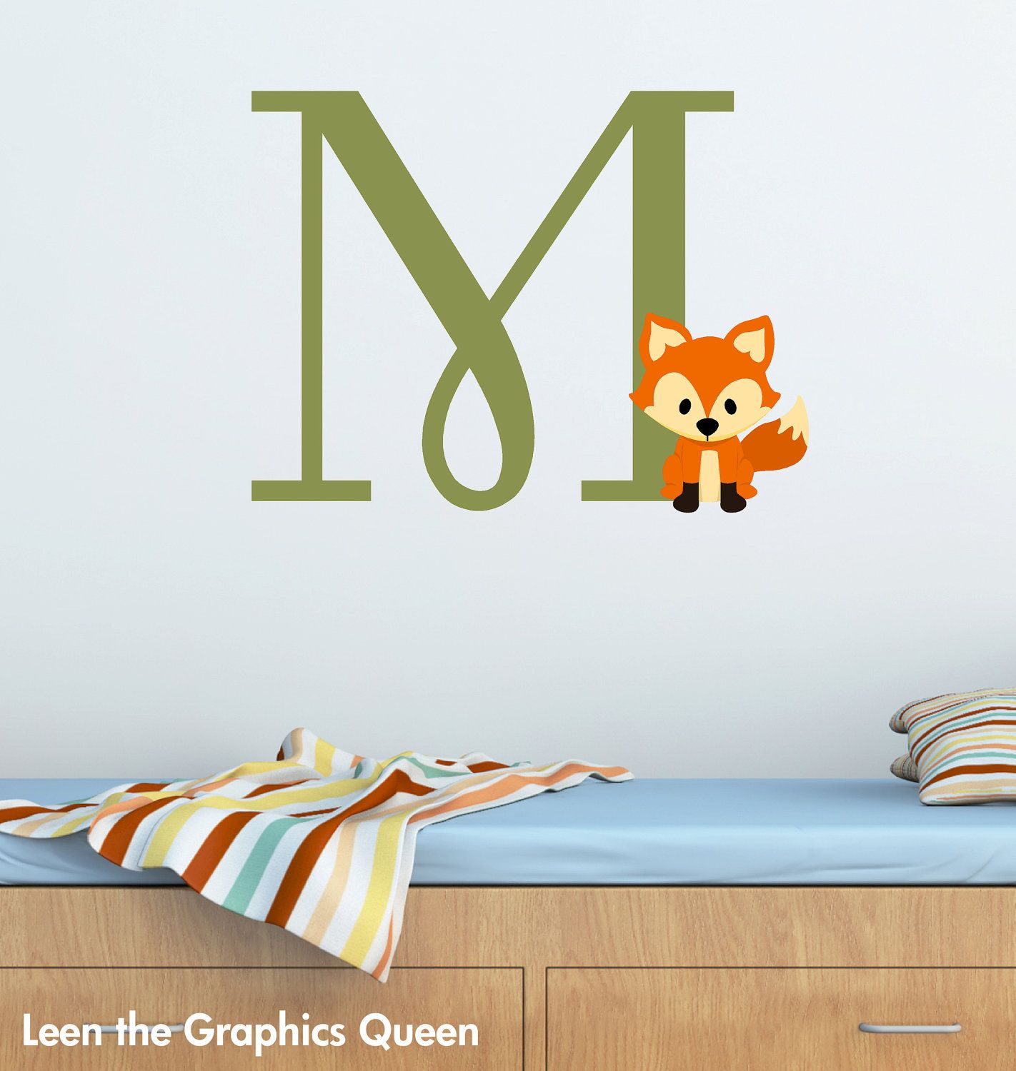Items Similar To Wall Decal Fox Monogram Initial For Nursery