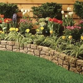 River Rock Borders Around Flower Beds Stone Wall Border Kit 10ft Review Kaboodle Stone Walls Garden Backyard Garden Stone Flower Beds