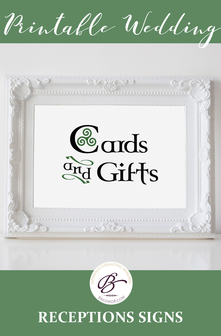 Celtic Wedding Cards and Gifts Sign, Gift Table Sign, Irish Cards ...