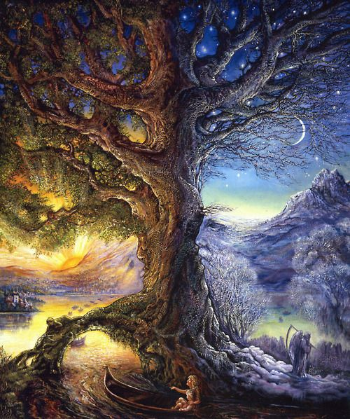 Josephine Wall 'Tree of time - river of life' - hidden faces everywhere | Tree art, Josephine wall, Art