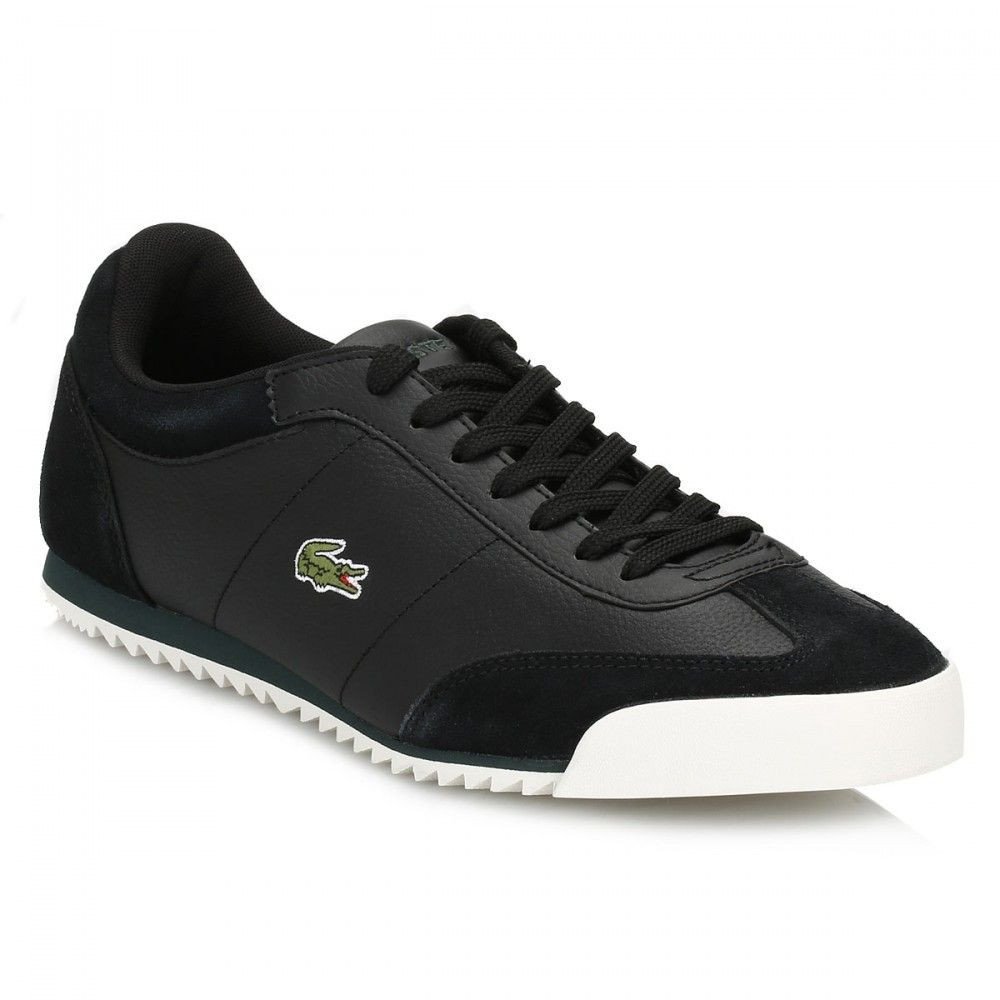 Lacoste Mens Black Romeau PUT Leather Trainers