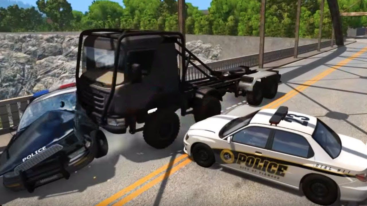 a police car blocked the road truck vs police crash test beamng drive