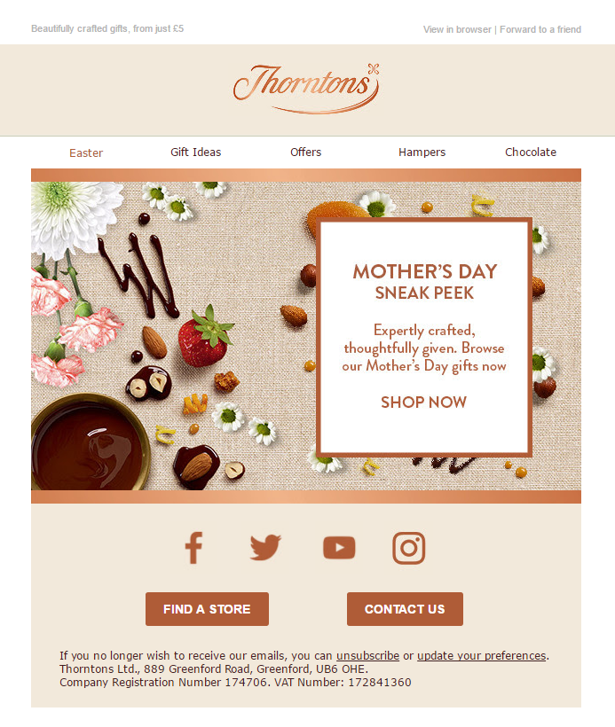 Mothers day sneak peek email from thorntons emailmarketing email chocolate easter eggs negle Gallery