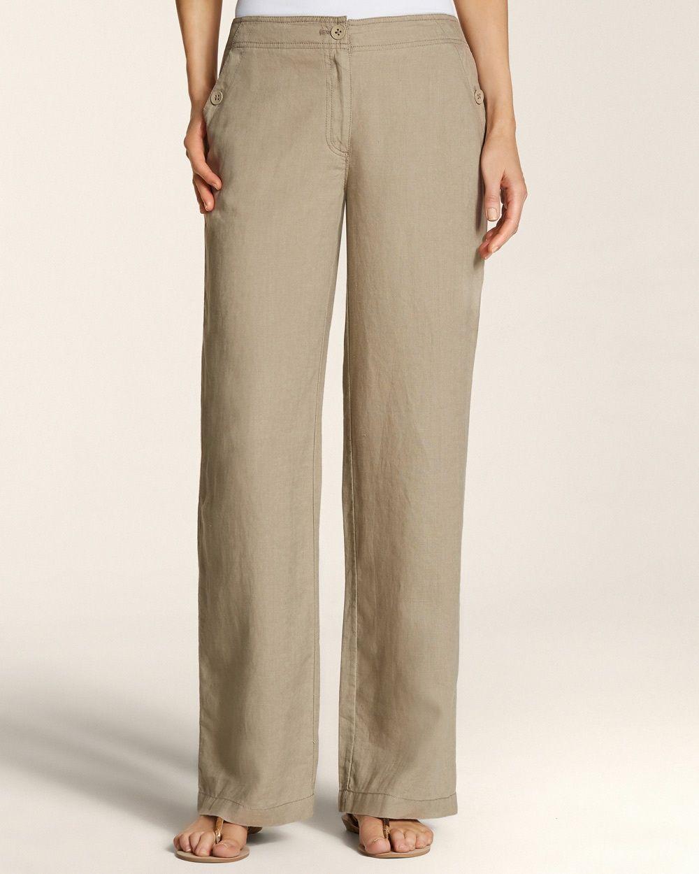 Chico's Women's Linen Wide Leg Pants,