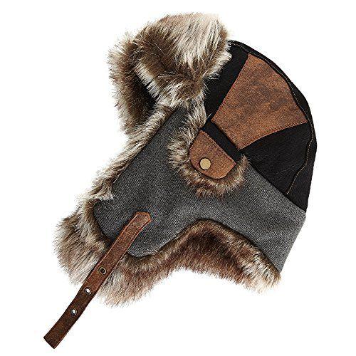 ed821add840 SIGGI Faux Fur Bomber Trapper Hat for Men Cotton Warm Rus... https