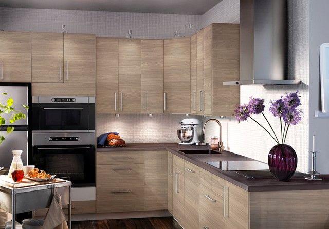 cocina en L pequena madera clara moderna | Cocinas en L | Pinterest ...