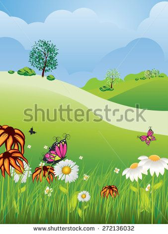 Cartoon Nature Summer Or Spring Landscape With Fields Trees Grass And Flowers Spring Landscape Summer Landscape Landscape Background